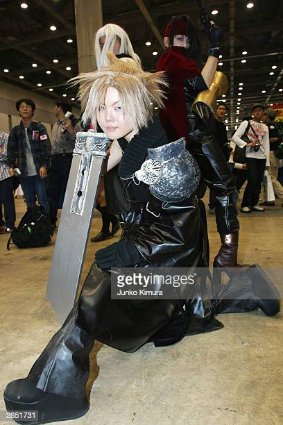 Japanese girls pose in costumes at a Chara Fes event on October 26 2003 in Tokyo Cosplay is becoming popular among Japanese youths whereby...