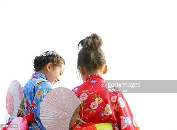 Japanese girls wearing yukata ,back shot