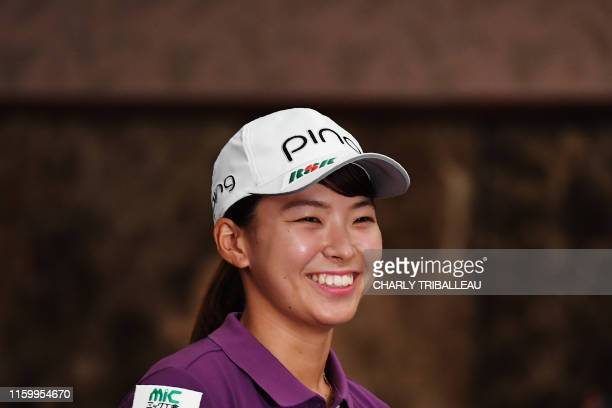 Japanese golfer Hinako Shibuno arrives for a press conference in Tokyo on August 6 2019 Japan on August 5 hailed a fairytale finish for Hinako...