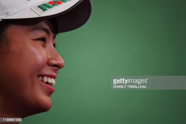 Japanese golfer Hinako Shibuno attends a press conference in Tokyo on August 6 2019 Japan on August 5 hailed a fairytale finish for Hinako Shibuno...