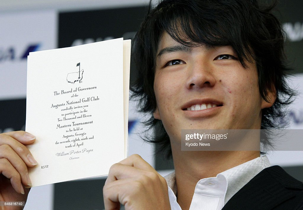 NARITA, JAPAN - Japanese golfer Ryo Ishikawa shows his invitation to the Masters Tournament at Narita airport in Chiba Prefecture on Jan. 4, 2011 before heading to Thailand to participate in the Royal Trophy tournament. The golfing sensation will play in the Masters at Augusta National Golf Club in Georgia for the third straight year.