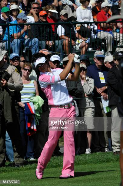 Japanese golfer Ryo Ishikawa swings his club on the green during the 110th US Open golf championship Pebble Beach California June 17 2010