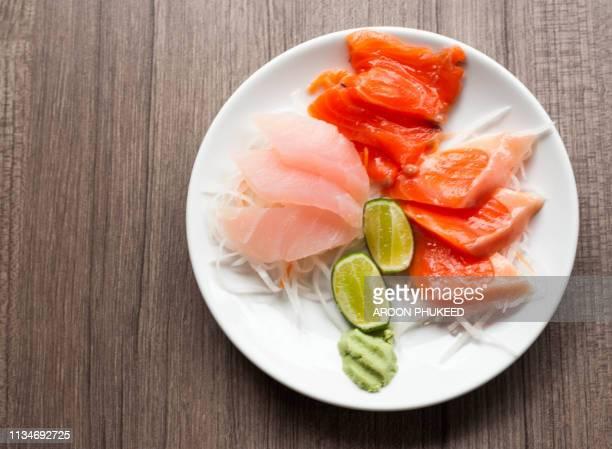 japanese gourmet sashimi - sashimi stock pictures, royalty-free photos & images