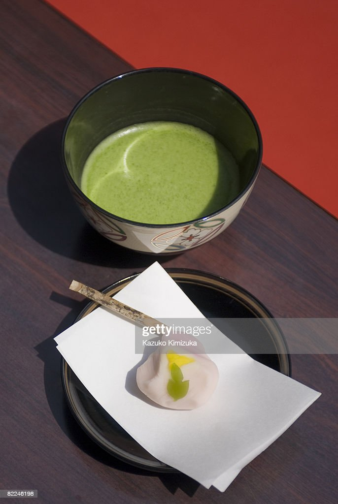 Japanese green tea macha and sweets : Stock Photo