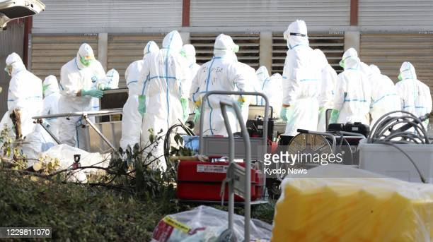 Japanese Ground Self-Defense Force personnel in protective suits prepare to cull more than 140,000 chickens at a chicken farm in Awaji in Hyogo...