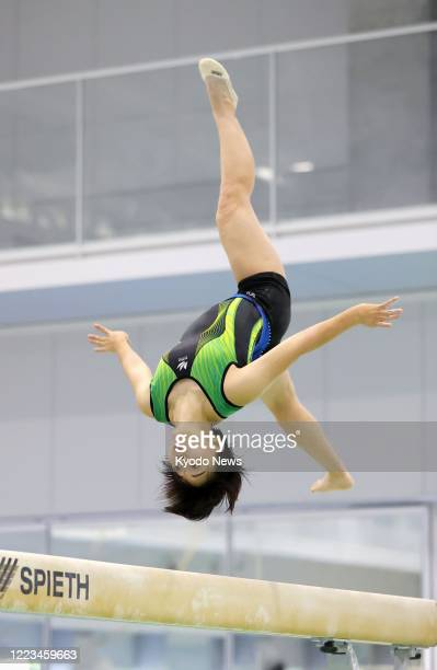 Japanese gymnast Mai Murakami, the women's all-around silver medalist at the 2018 world championships, resumes training at the Nippon Sport Science...