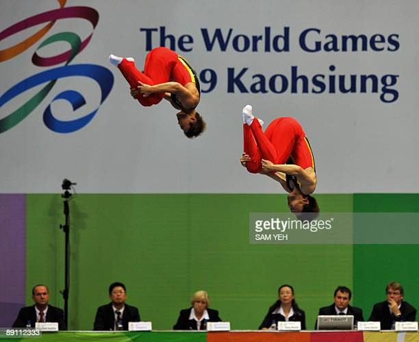 Japanese gymnasts Masaki Ito and Shunsuke Nagasaki compete in a trampoline gymnastics event at the World Games in Kaohsiung on July 20 2009 The World...