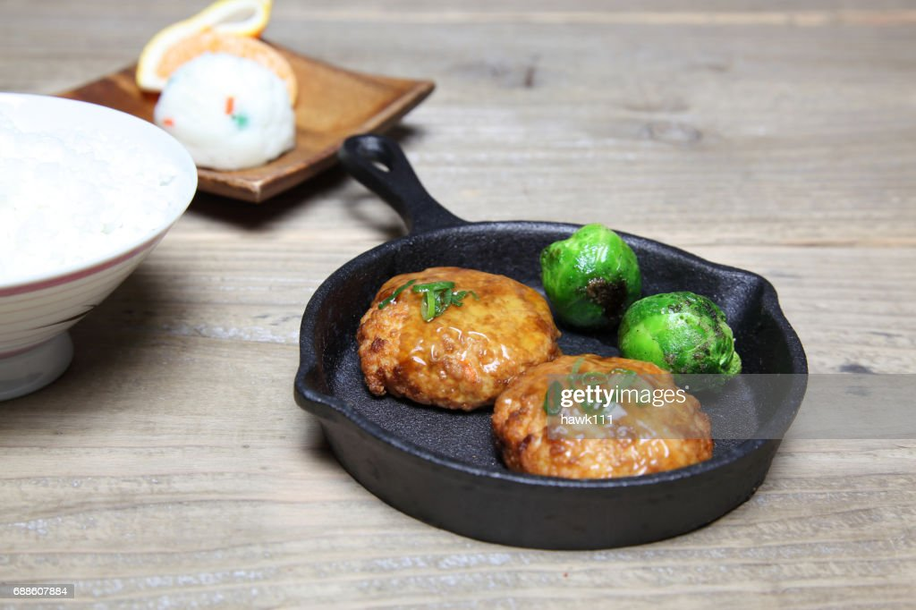 Japanese hamburger steak made from tofu and minced meat : Stock Photo