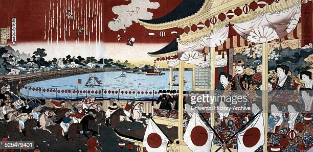 Japanese hand coloured woodcut Image shows the Horse race in Ueno Park The jockeys are shown racing on their horses while Japanese fans cheer from...