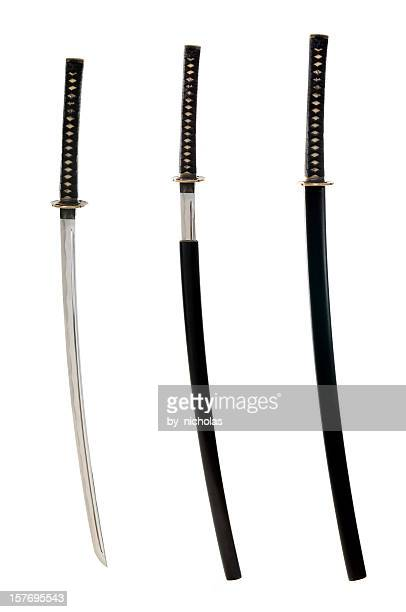 japanese hand made katana, isolated on white - sword stock pictures, royalty-free photos & images