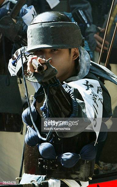 Japanese Harquebusiers and Samurai reenact a battle scene during a festival celebrating 400 years of military association with the region on...