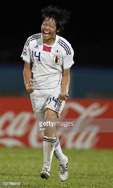 Japanese Haruka Hamada celebrates during the FIFA Women's Under17 semifinal match against North Korea on September 21 at the Ato Boldon Stadium in...