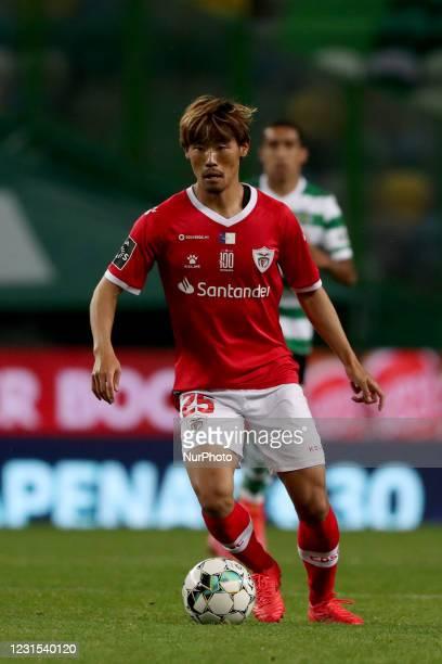 Japanese Hidemasa Morita of CD Santa Clara in action during the Portuguese League football match between Sporting CP and CD Santa Clara at Jose...