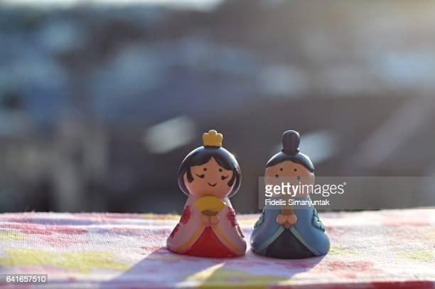 Japanese Hinamatsuri Emperor and Empress Doll under the sunlight