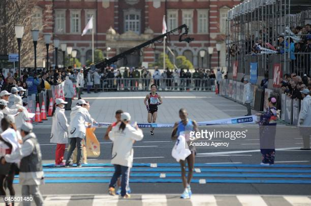 Japanese Hiroto Inoue finishes the Tokyo Marathon 2017 at the 8th place in Tokyo Japan on February 26 2017