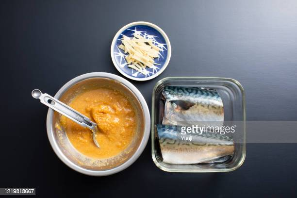 japanese home cooking, mackerel miso recipe - miso sauce stock pictures, royalty-free photos & images