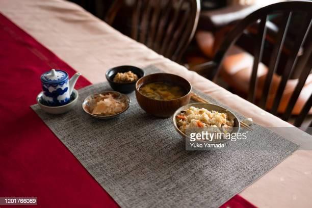 japanese homemade meal - washoku fotografías e imágenes de stock