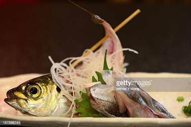 japanese horse mackerel sashimi - trachurus japonicus stock pictures, royalty-free photos & images