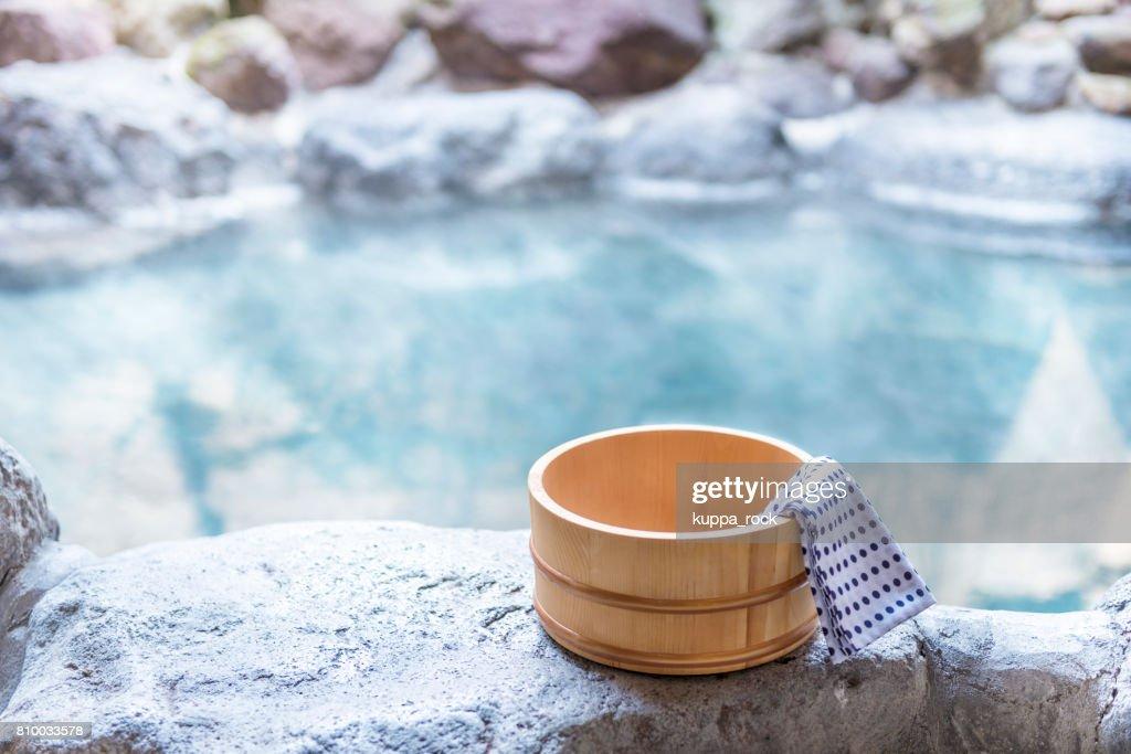 Japanese hot spring, open-air bath : Stock Photo