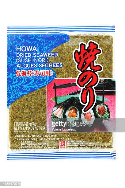 japanese howa dried seaweed package - nori stock photos and pictures