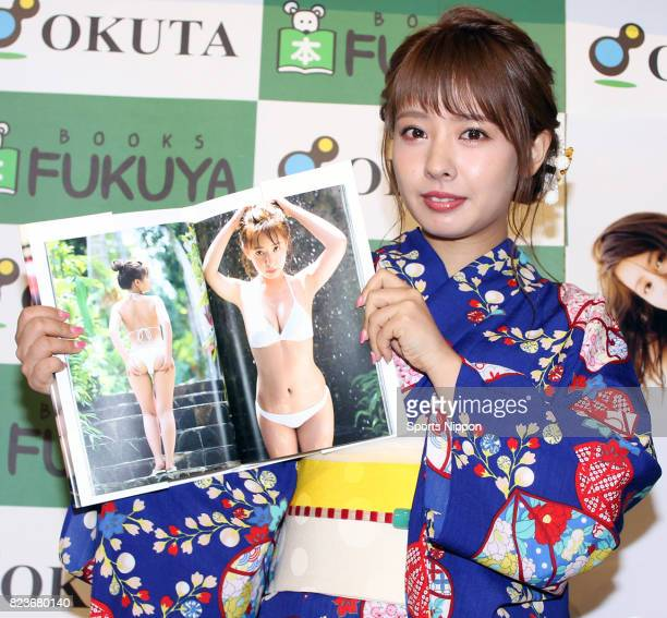 Japanese idol/former member of NMB48 Nana Yamada attends launch promotional event of her new photo book 'nanairo' on August 11 2016 in Tokyo Japan