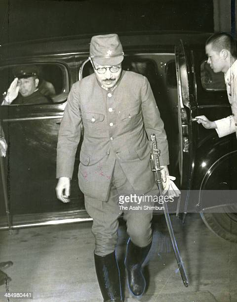 Japanese Imperial Army Kwantung Army lieutenant general Hideki Tojo arrives at Army Minister official residence on July 18 1940 in Tokyo Japan Hideki...