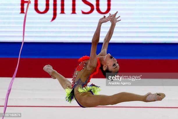 Japanese individual rhythmic gymnast Kita Mirano performs final during the 1st FIG Rhythmic Gymnastics Junior World Championships at Rhythmic...