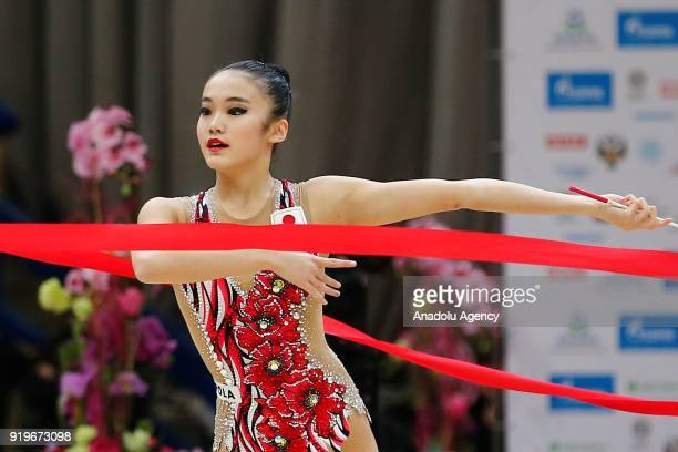 Japanese individual rhythmic gymnast Sumira Kita performs during the 2018 Moscow Rhythmic Gymnastics Grand Prix GAZPROM Cup in Moscow on February 17,...