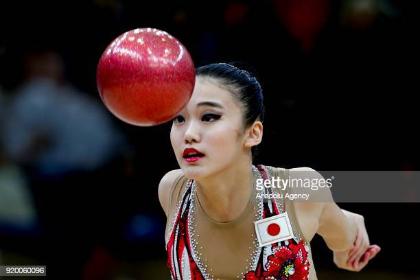 Japanese individual rhythmic gymnast Sumira Kita performs during the 2018 Moscow Rhythmic Gymnastics Grand Prix GAZPROM Cup in Moscow Russia on...