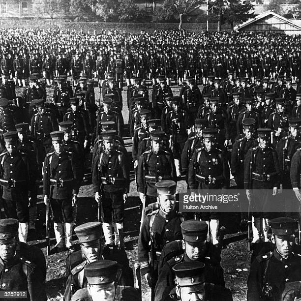 Japanese infantry march at Emperor Hirohito's Birthday Review, Tokyo.