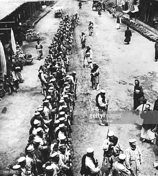 Japanese infantry soldiers during the war between Russia and Japan, circa 1905, in Moukden aka Shenyang, China.