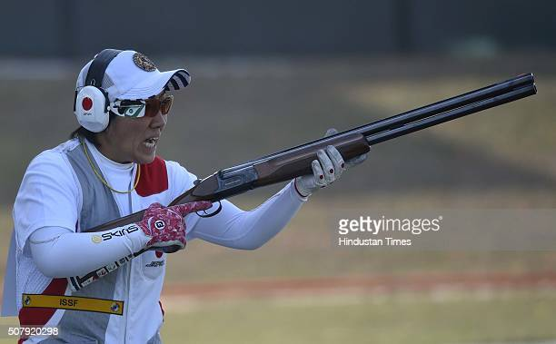 Japanese Ishihara Naoko wins Women Skeet Gold Medal during Olympic Qualifying Competition at Dr Karni Singh Shooting Range on February 1 2016 in New...