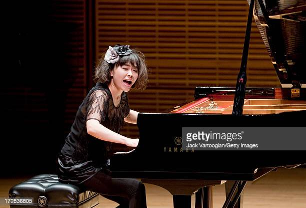 Japanese jazz musician Hiromi Uehara plays a solo piano concert as part of the 'Just Jazz The Joyce Wein Series' at Carnegie Hall's Zankel Hall New...