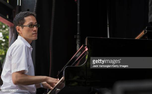 Japanese Jazz musician Toru Dodo plays piano as he performs with Alicia Olatuja's band on the final day of the 25th Annual Charlie Parker Jazz...