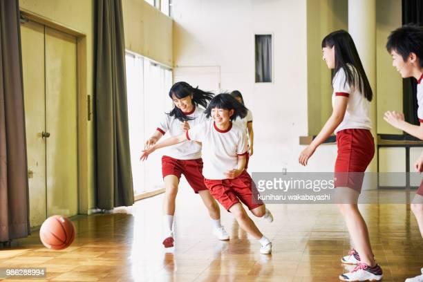 Japanese junior high school students enjoying basketball
