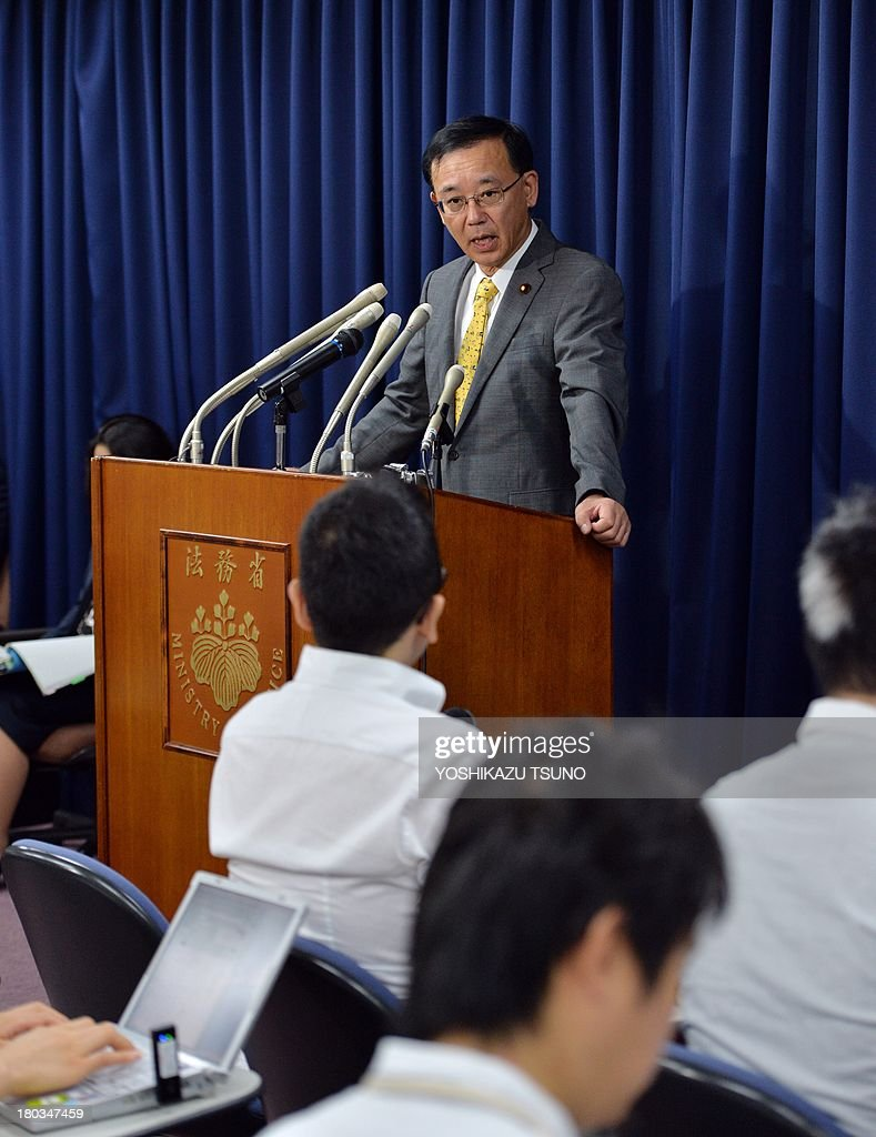 Japanese Justice Minister Sadakazu Tanigaki announces the execution of Tokuhisa Kumagai, who was convicted of shooting in the head and robbed the owner of a Chinese restaurant in May 2004, at a press conference at his office in Tokyo on September 12, 2013. Japan hanged the 73-year-old robbery-murder convict, bringing to six the number of death-row inmates executed since the conservative government came to power in December. AFP PHOTO / Yoshikazu TSUNO