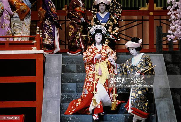 Japanese Kabuki actor Bando Tamasaburo V in an 'onnagata' role and others during a performance of the play 'Sakurahime Azuma Buncho' at Lincoln...