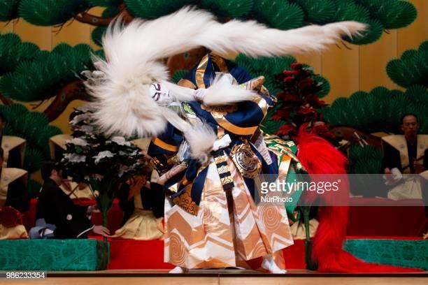 Japanese Kabuki actor Kankuro Nakamura and Shichinosuke Nakamura of Heisei Nakamura company performs 'Renjishi' at Canal Theater in Madrid, Spain....