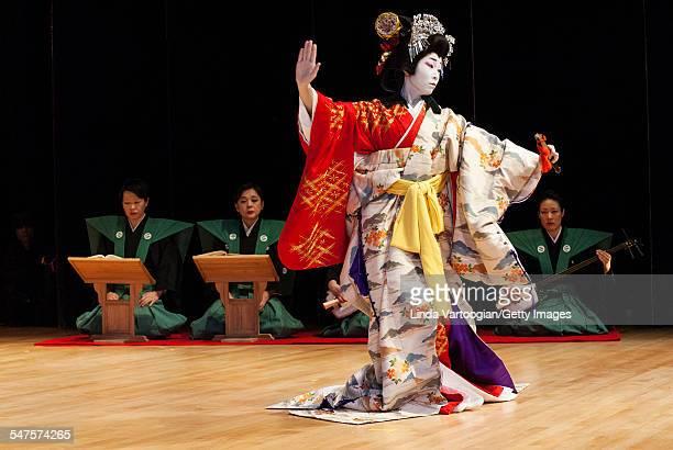 Japanese Kabuki actor Nishizako Sakurako performs 'YoshinoYama' the journey section of the play 'Yoshitsune Senbonzakura' during a program of Nihon...
