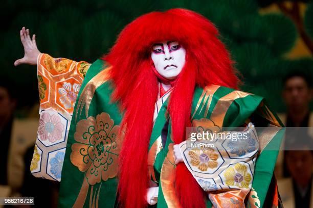 Japanese Kabuki actor Shichinosuke Nakamura of Heisei Nakamura company performs 'Renjishi' at Canal Theater in Madrid, Spain. June 27, 2018.