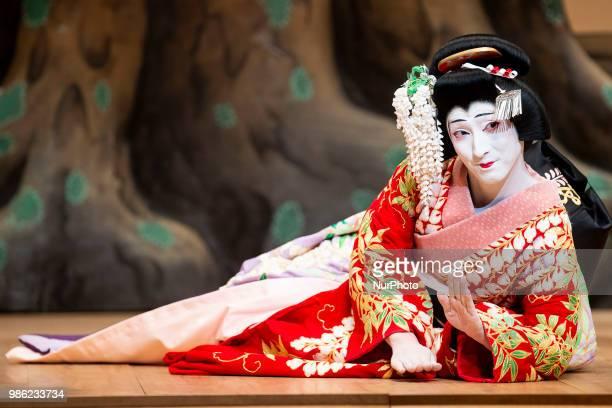 Japanese Kabuki actor Shichinosuke Nakamura of Heisei Nakamura company performs 'Fuji Musume' at Canal Theater in Madrid, Spain. June 27, 2018.