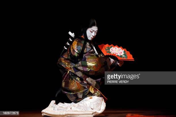 Japanese Kabuki actor Tamasaburo Bando is seen during a dress rehearsal for 'Jiuta' at the Chatelet Theatre in Paris on February 4 2013 Tamasaburo is...
