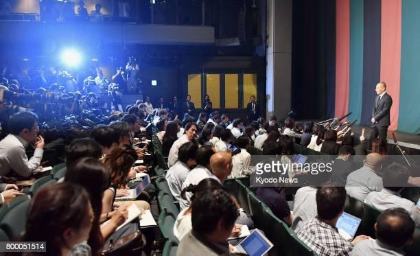 Japanese kabuki star Ichikawa Ebizo attends a press conference in Tokyo on June 23 after his wife Mao Kobayashi a 34yearold Japanese TV personality...