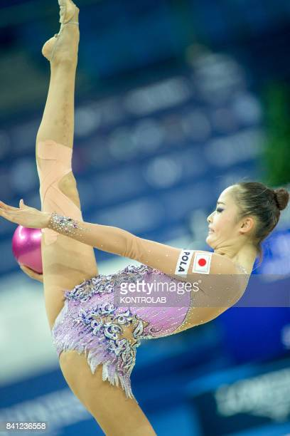 Japanese Kaho Minagawa performs the ball exercise during the FIG 35th Rhytmic Gymnastic World Championship in Pesaro