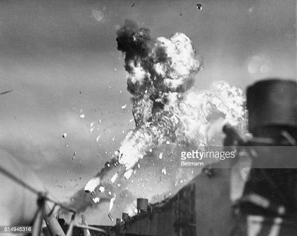 Japanese Kamikaze Explodes Over USS Intrepid