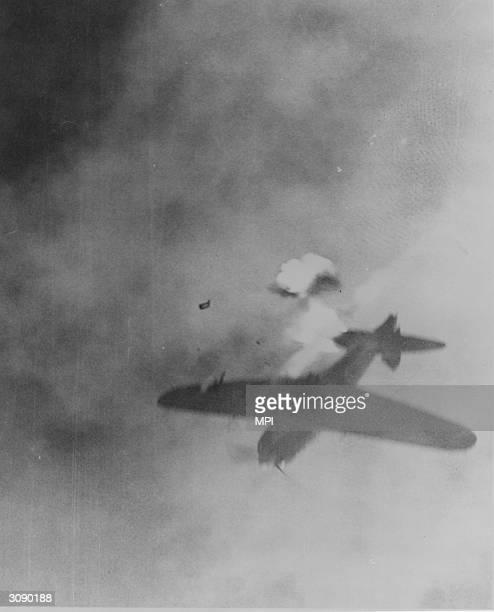 Japanese kamikaze plane shortly before it hit the USS Intrepid