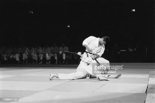 Japanese karate expert Keinosuke Enoeda takes on Jim Wilson, UK, 1971.