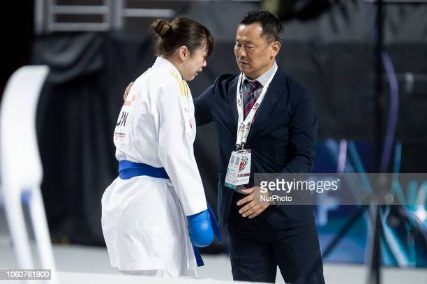 Japanese karateka Ayumi Uekusa after the Kumite female 68kg final competition of the 24th Karate World Championships at Wizink Center in Madrid Spain...