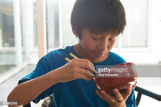 Japanese kid eating
