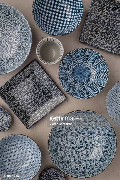 Japanese kitchenware on grey surface